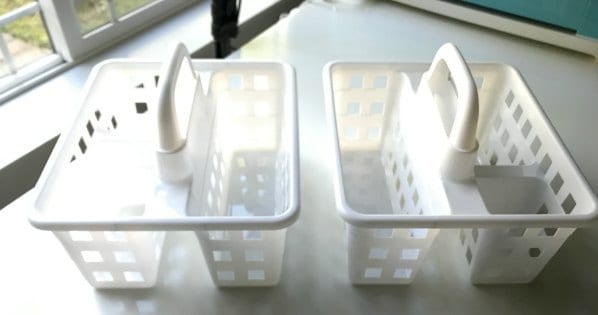 Use these basket caddies to organize.
