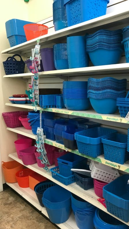 Find cheap baskets for storage at the dollar store