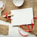 christmas card on burlap