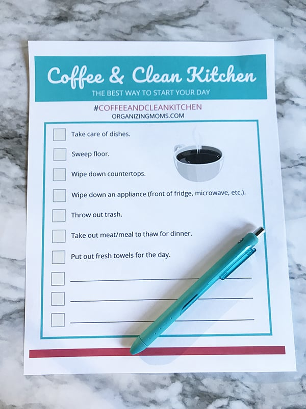 coffee and clean kitchen printable