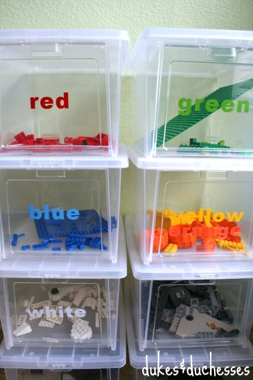 Color Coded Lego Storage Dukesandduchesses