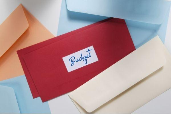 Colorful budget envelopes - text on envelope - Budget