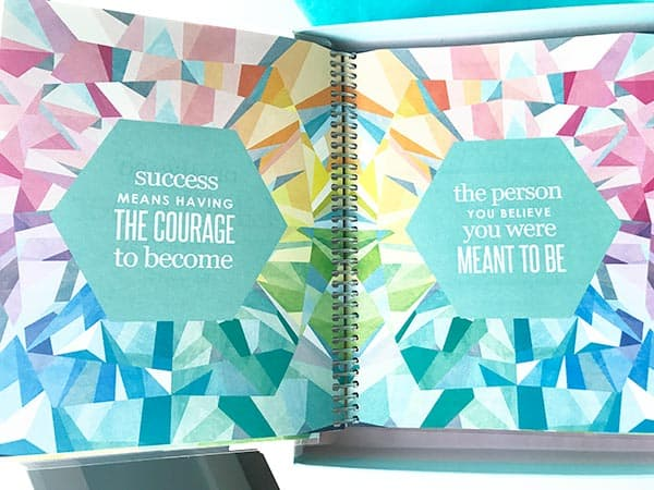 """Close up images of quotes pages in Erin Condren Life Planner. Quote text - \""""Success means having the courage to become the person you believe you were meant to be.\"""""""
