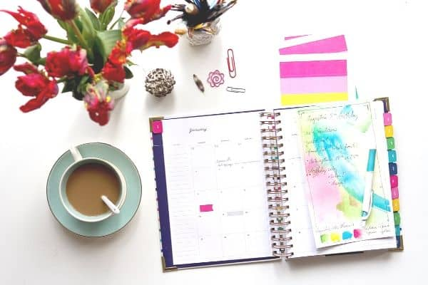 colorful planner and coffee