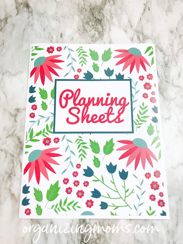 colorful planning sheets cover by organizing moms