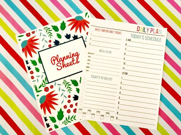 Planning Sheet Cover and Daily Plan Sheet from Organizing Moms