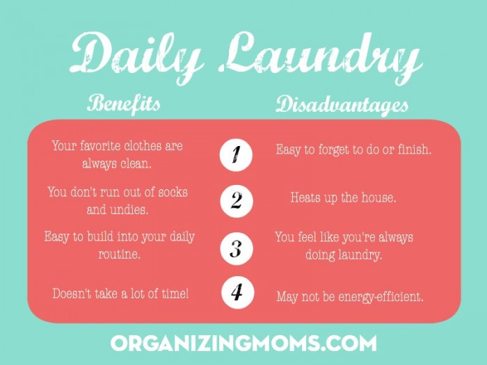 Daily Laundry. The benefits and disadvantages of a daily laundry routine.