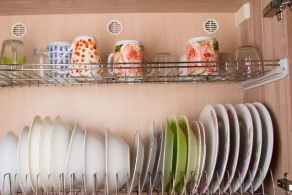 dishes in kitchen cabinets