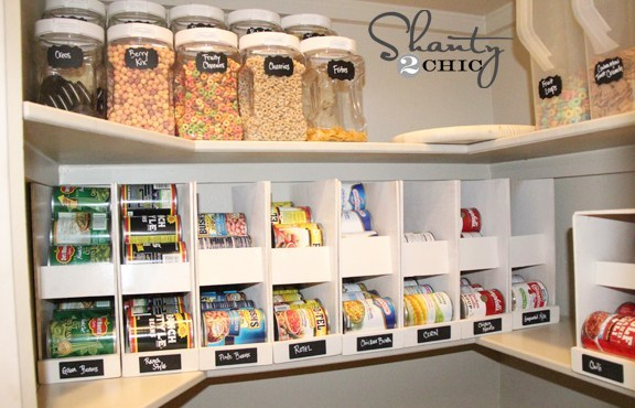 DIY can organization in a pantry