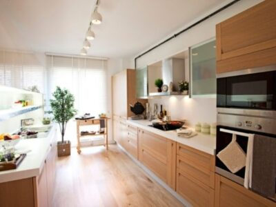 bright kitchen with wooden counters and floors, plant