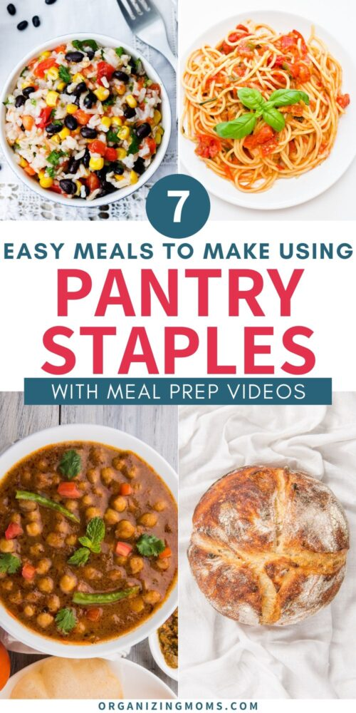 pantry staple meals collage