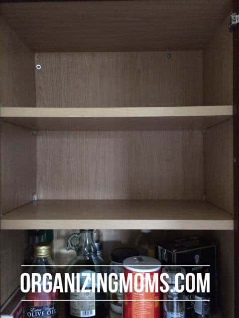 Empty food storage container cabinet.