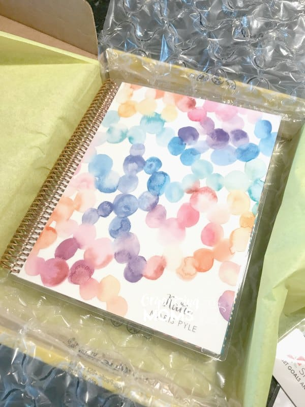 Erin Condren Deluxe Monthly Planner unboxing. Rose gold spiral with customized cover.