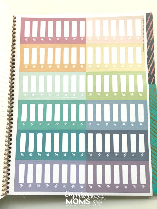 Colorful sticker labels in the Erin Condren Deluxe Monthly Planner.