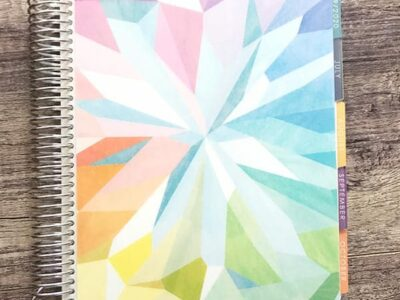 A close up of Erin Condren Life Planner on wooden table