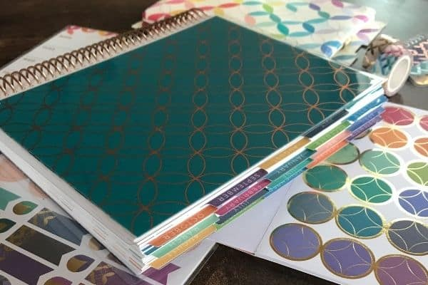erin condren life planner mid century circles outline on top of sticker sheets