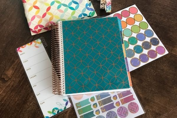 erin condren mid century circles outline cover stickers on table