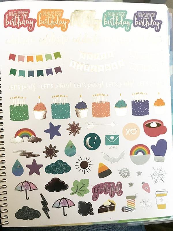 stickers from erin condren planner