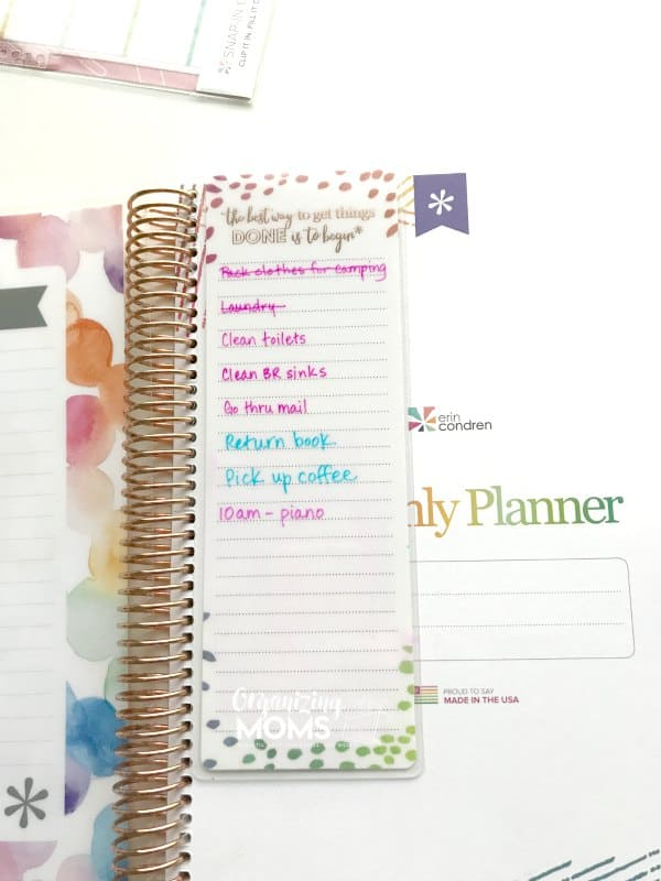 To-do list dashboard in the Erin Condren Planner. Also works in regular spiral notebooks!