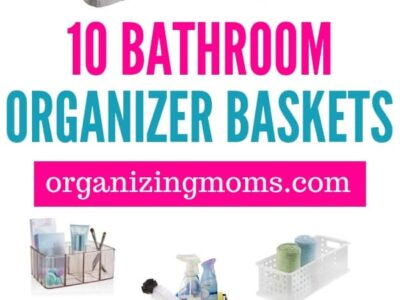 Bathroom organizer baskets to help you declutter and organize your toiletries and bathroom supplies. Organizing with baskets is a great way to create designated spaces for everything. Save time, energy, and stop overbuying toiletries when you know where everything is, and how to find it in your bathroom.