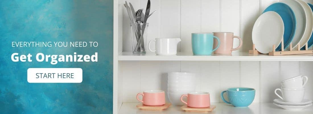 Organized dishes on white shelf