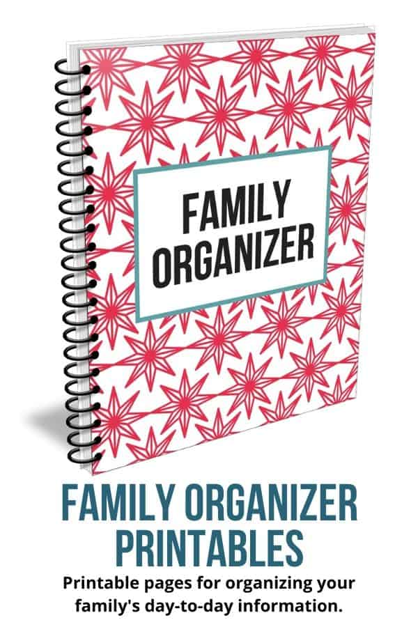 Close up of family organizer printable set, spiral bound