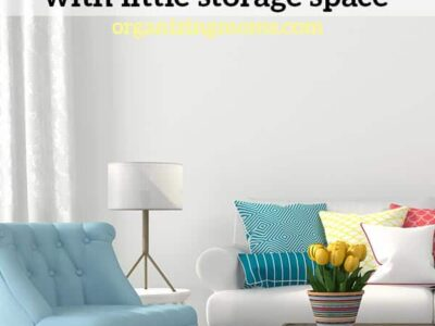Text - How to organize a Family Room with little storage space organizingmoms.com Image of organized, colorful family room, yellow tulips on coffee table