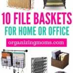 Filing baskets for your home or office. By organizing with baskets, you can get your files and paperwork organized, while keeping it easily accessible. Great for frequently-used files.