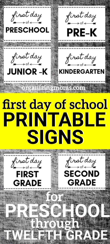 photograph regarding First Day of Preschool Free Printable known as No cost Printable Initial Working day of Higher education Signs and symptoms for Adorable Shots