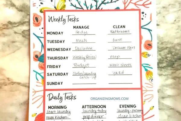 floral weekly tasks daily tasks printable