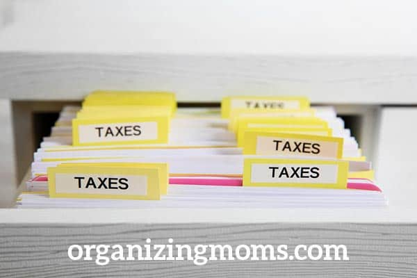 organize current tax year papers in a separate folder