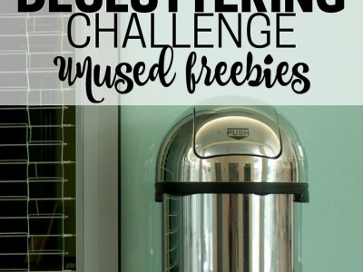 Declutter unused freebies and de-junkify your home. Part of the Get Rid of It! Decluttering Challenge.