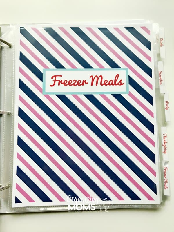 Organize all of your freezer meals together in your recipe binder.