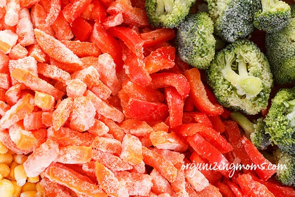 A close up of food, with Broccoli and Frozen vegetables