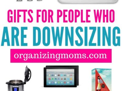 Text - Gifts for people who are downsizing organizingmoms.com . Images of different gift ideas featured in article.