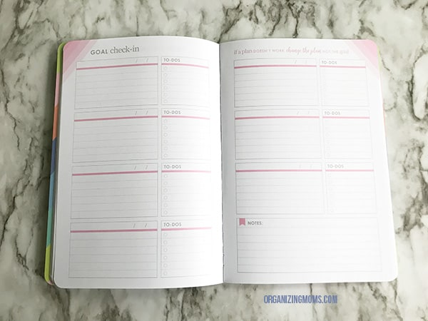 goal check in page petiteplanner goal setting journal
