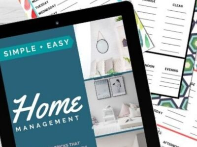 Close up of Simple Easy Home Management ebook, and weekly tasks printable sheets