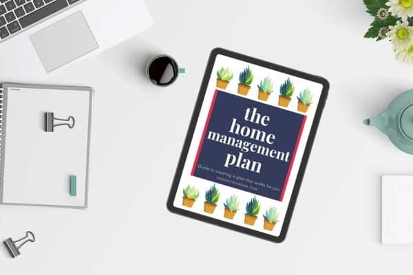 home management plan on ipad on desk
