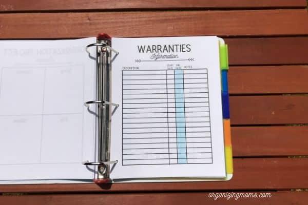 home management planner printables