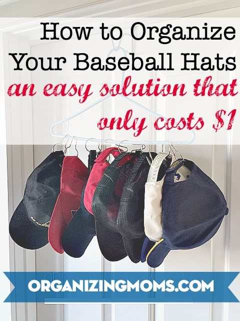 How to organize hats. An easy solution that shows you how to store baseball hats. Much cheaper than a baseball hat rack you'd buy at the store!