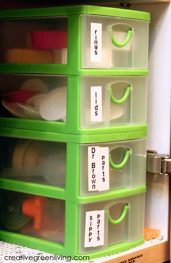 how to organize bottle parts and sippy cup parts