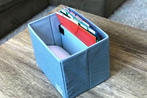 Inside the blue sunday basket with slash pockets, papers