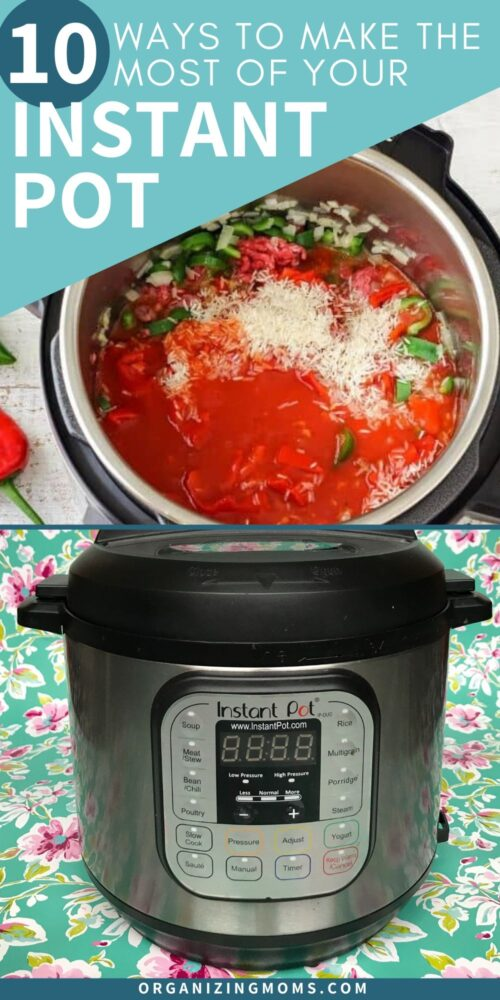 instant pot with soup inside on floral tablecloth