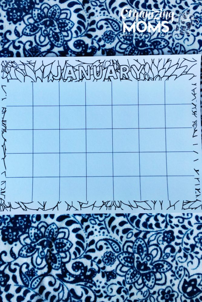 Monthly calendar sheets. Color in planner sheet. Organizing Moms.
