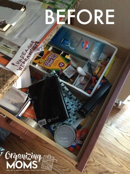 Junk drawer before. Realistic, real-life decluttering.