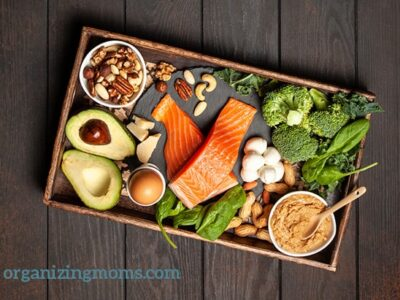 A box filled with different healthy keto diet foods on a wooden table