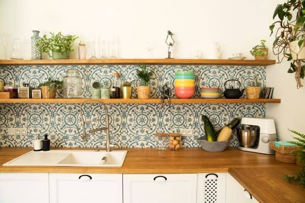kitchen with beautiful tile wooden counter