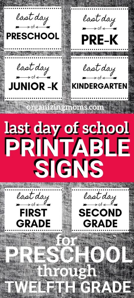photograph regarding Last Day of Preschool Sign Printable named Absolutely free Past Working day of Higher education Printables - Preschool - 12th Quality