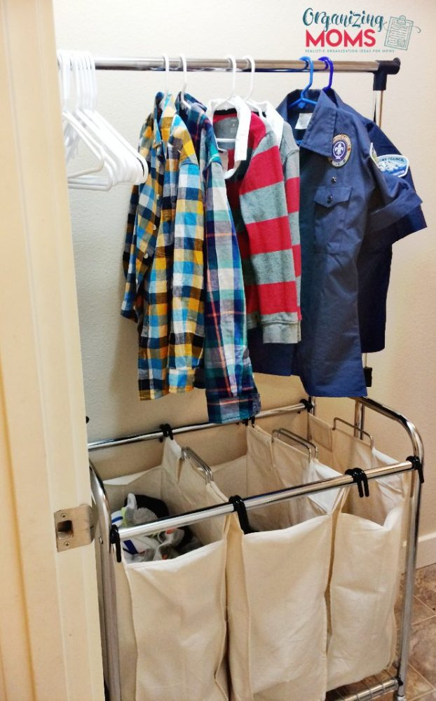 Laundry hamper with hanging rod. Laundry room organization.