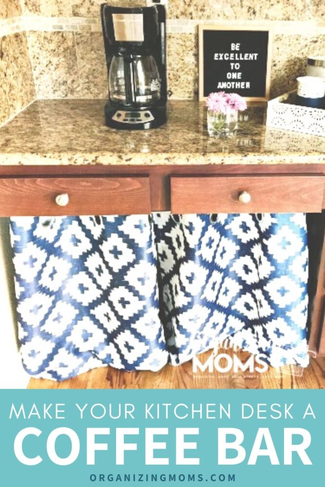 kitchen desk a coffee bar bright blue patterned curtains